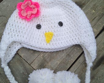 Chicken Hat Crochet Preemie - Adult