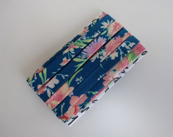 "1/2"" Double fold bias binding: Blue with pink floral"