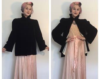 Vintage 1940's Black Velvet Opera Jacket