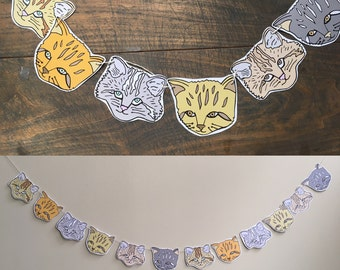 Cat Illustrated Face Paper Banner, Garland, nursery, office decor, drawing
