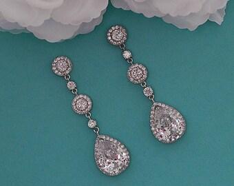 Bridal Earrings Cubic Zirconia CZ Crystal Dangle Chandelier Long Earrings Swarovski Bride Gift Wedding Weddings Jewelry Prom Earrings 056