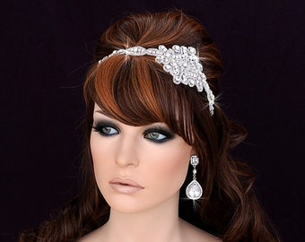 Prom Headband , Bridal Headpiece , Bridal Hair Accessories , Wedding Headband , Crystal Beaded Applique
