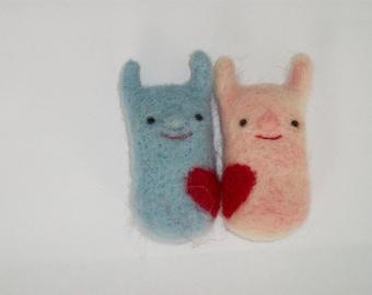 set of 2 monsters, monster in love, felt funny brooch