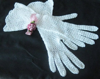 Early Vintage Hand Crocheted Gauntlet Style White Crocheted Gloves - Excellent Condition