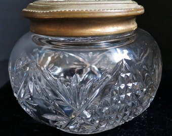 Cut Glass Vanity Jar, Vintage Vanity Jar, Cosmetic Jar, Powder Jar, Powder Box