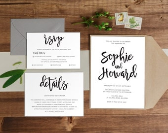 DIY Printable Simple Handwritten Wedding Invitation Main Invitation | Save the Date | RSVP | Details