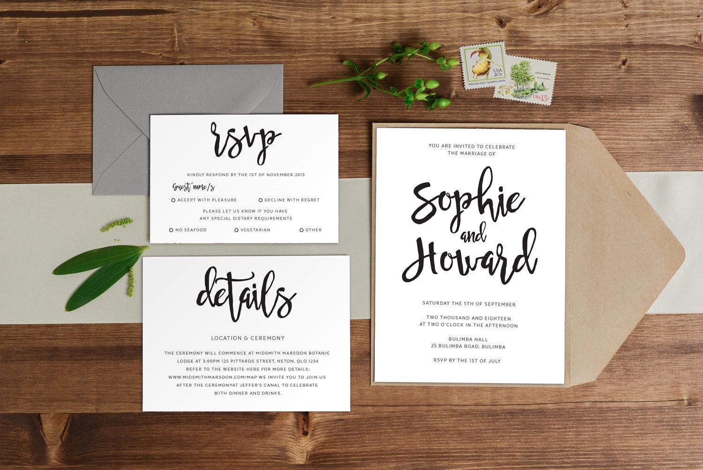 Simple Homemade Wedding Invitations: DIY Printable Simple Handwritten Wedding Invitation Main