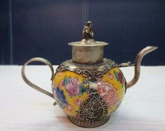 Antique Chinese Metal Porcelain Teapot Tibet Monkey Motif Miniature
