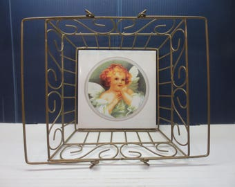 Country Farmhouse Style Square Wire Basket 2 Handles 8 x 8