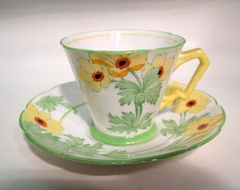 Rare 1930's New Chelsea St-Ives Tea Cup and Saucer, New Chelsea Staffs Hand Painted teacup.