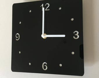 Rounded Corner Square Black & White Clock - White Acrylic Back, Black Gloss Finish Acrylic with White hands, Silent Sweep Movement