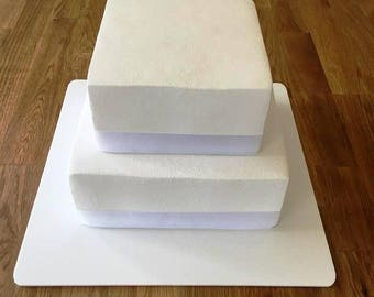 "Square Cake Board, White Gloss Finish 3mm Acrylic, Sizes  7"", 9"", 11"", 13"", 15"" & 17"""
