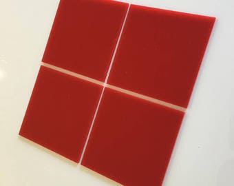 "Red Gloss Acrylic Square Crafting Mosaic & Wall Tiles, Sizes: 1cm to 20cm - 1"" to 7.9"""
