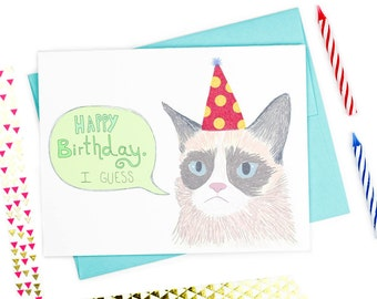 Meme Cat Sarcastic Happy Birthday I Guess - Funny Birthday Card