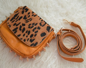 Animal print studded cross body