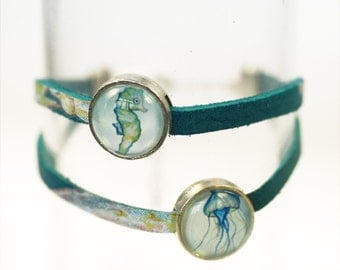 "Leather wrap bracelet ""Atlantis underwater world"", silver"