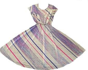 Rainbow 70s 80s Disco Dress / Medium  / Full Skirt