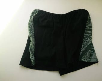 Recycled size S/6 US women short summer/sleeping/home/festival/recycled/black with green shorts Eco fashion Hipster shorts Ready to ship