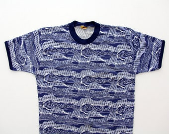 Vintage T-shirt // KRONE Made in Norway 70's Blue and White Top