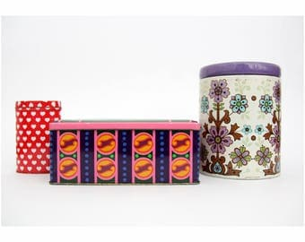 Vintage Tin Boxes // Set Of Three Colorful Tins // Tin Made in Great Britain