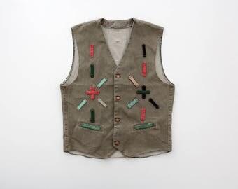 Vintage vest // Jean Vest with Belt Loops Design