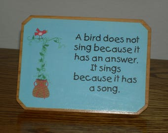 Bird Plaque/Sign for Desk, Table, Knick-Knack Shelf **FREE SHIPPING**