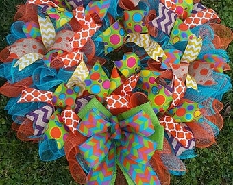 XXL 25x29 Ready to Ship Deco Mesh Multi Textured Multi Patterned Multi Colored Wreath with 3 add on options