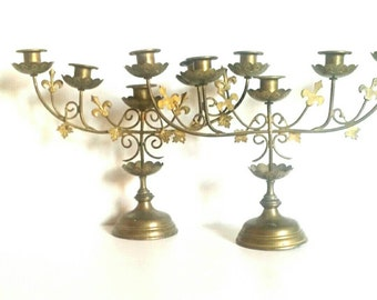 Pair of Brass candle holders, vintage brass candle holders, Italian vintage candelabras, brass candelabra