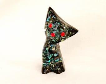 Vintage 1950s Acrylic Cat Figurine Paua Shell New Zealand Kitty Trinket Abalone Lucite Style Mid Century Decor