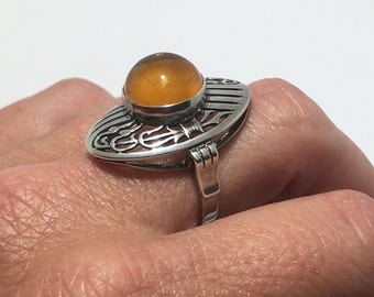Large setting Vintage Baltic Amber Statement Ring Solid 925 Sterling Silver Sz 6