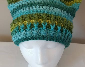 Earth-toned cat ear hat, hand stitched crochet, baby through adult sizes available
