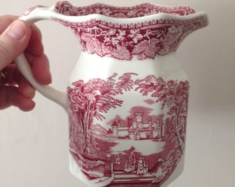 Masons ironstone china Pink Vista pitcher jug with transfer pattern design perfect no damage