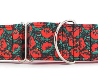 Mod Poppies Dog Collar (Martingale, Buckle or Tag)