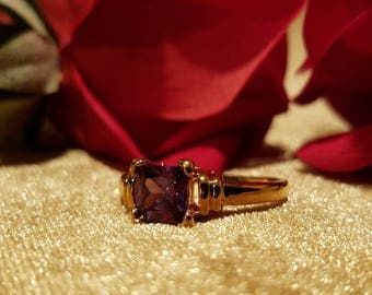 Vintage 24k Yellow Gold Filled Purple Amethyst Size 7 Engagement Ring