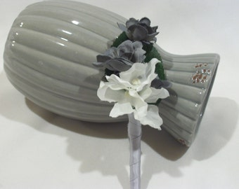 JJ Cox Best Man Bout,Blue Violet CA Orchid,Gray Spray Rose, Ribbon is Optional,Silk Bout