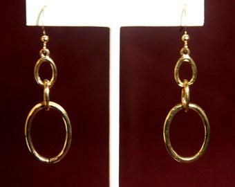 Gold Oval Earrings, Gold Earrings