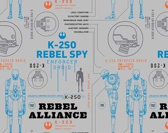 Star Wars fabric - Rogue One K-2SO - Camelot - Star Wars, grey, galatic, rebel alliance , darth vader, jedi, rebel spy, the force, grey