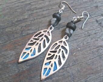 Boho Feather Earrings, Turquoise Feather Earrings, Indie Boho Jewelry, Bohemian Feather Charm Earrings, Picasso Stone Earrings