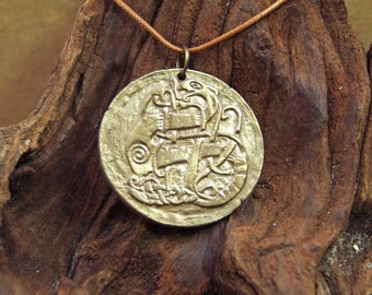 Viking Dragon Disk Pendant in Bronze