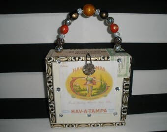 Cigar Box Purse, Hav-A-Tampa, Fuente, Zebra Lined, Vintage, Authentic, Tampa