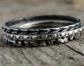 Sterling Silver Stacking Rings, Set of 3  | Gypsy Stax Collection | Exclusive Patterns 7.75, Ready to Ship