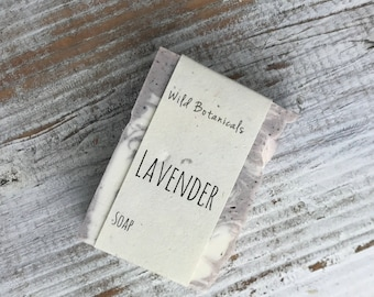 Lavender Soap, Organic Soap, Palm Free Soap, All Natural, Scented, Vegan, Handmade, Cold Process Soap, Wildflower Seed Paper