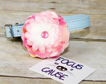 Small Dog Collar Flower, Dog Collar Accessory, (Collar not included), Fabric Flower, Pink and Purple with Pink Rhinestone