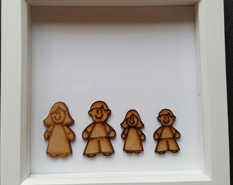 MDF Family Members, 50mm and 40mm high, perfect for scrap books and frame craft