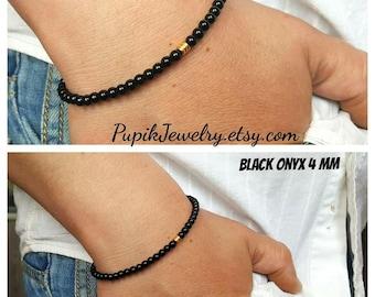 4 mm BEADED BRACELETS Men's Jewelry Custom Jewelry Simple Bracelets Mens Beaded Bracelets Beaded 4mm Black Onyx Bracelet Mens Bracelete