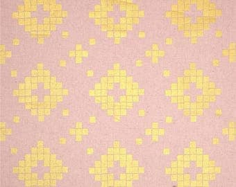 Mesa Tile Pink Gold CANVAS Linen Cotton Blend Cotton and Steel Lion Fabric BTY 1 Yd