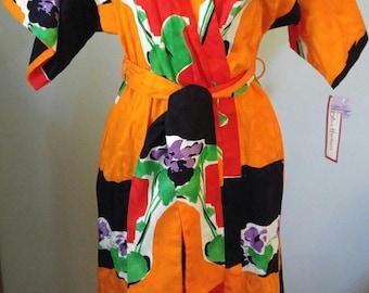 VTG 70s 80s Avant Garde Sales Sample Floral Wrap DRESS Pin Up GORGEOUS Oak New!