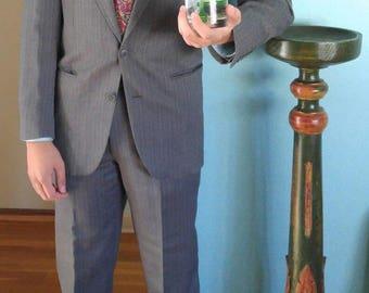 Ermenegildo Zegna Mens Grey Purple Chalk Striped 100% Wool Suit 40L 33Wx33L