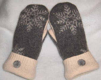 Ladies Upcycled Wool Mittens Grey and Ivory with Snowflake pattern