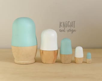 Mint, White and Wooden Nesting Dolls Minimalist Matrioska Matryoshka